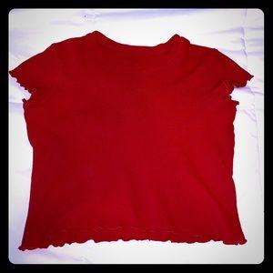 Brandy Melville Red Lettuce Edge Crop Top NWOT